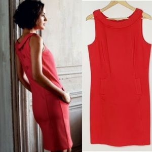 Boden Roma Red Collared Shift Dress Back buttons